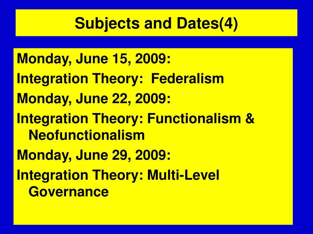 Subjects and Dates(4)