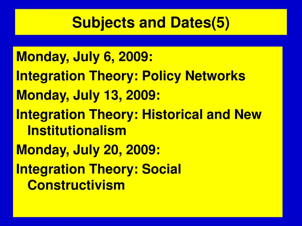Subjects and Dates(5)