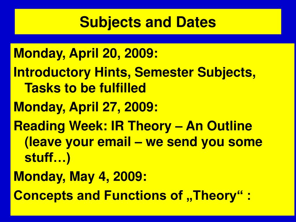 Subjects and Dates