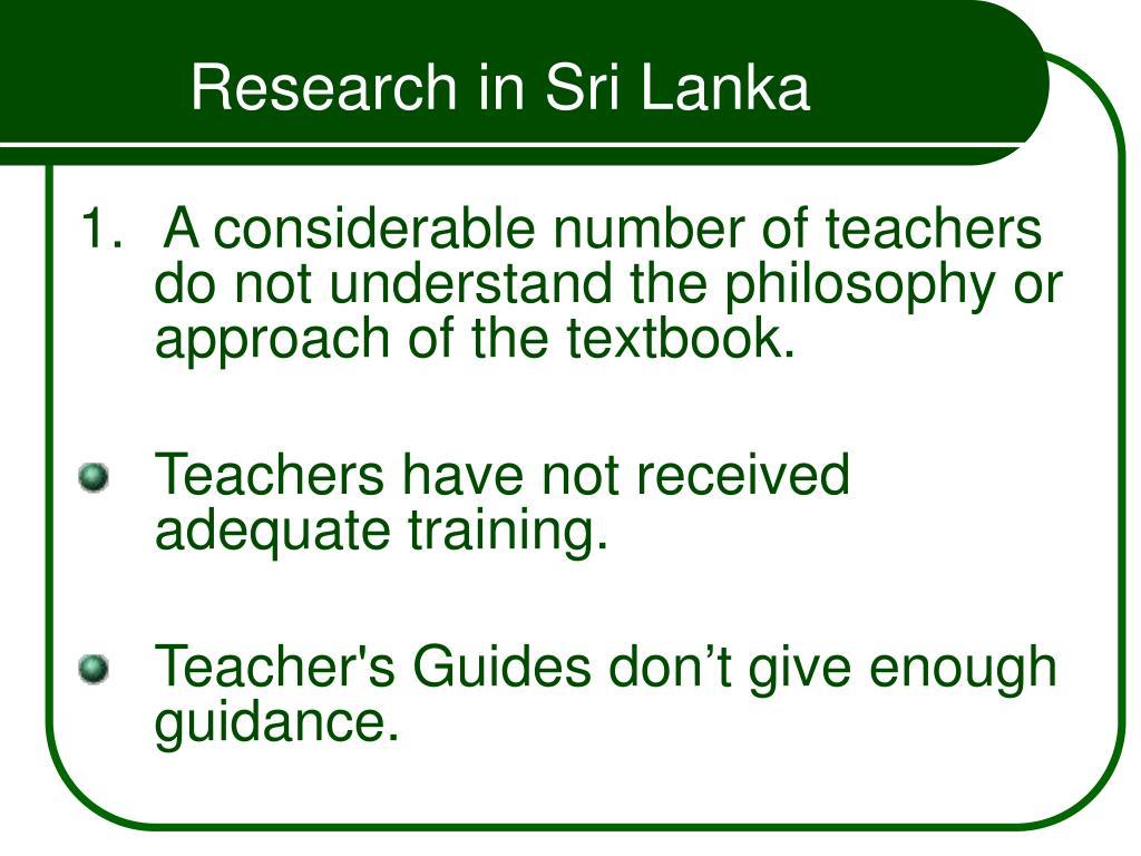 Research in Sri Lanka
