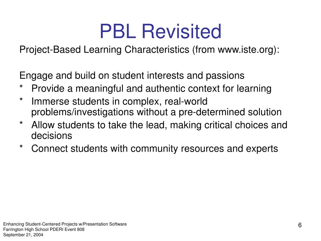 PBL Revisited