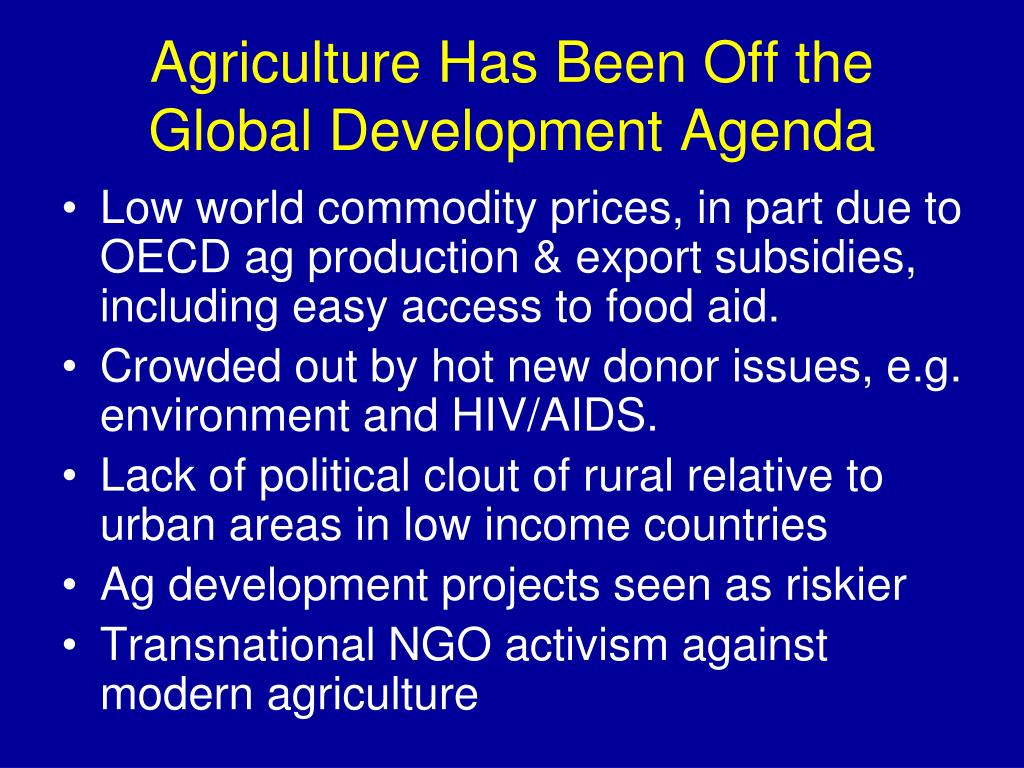 Agriculture Has Been Off the Global Development Agenda