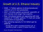 growth of u s ethanol industry