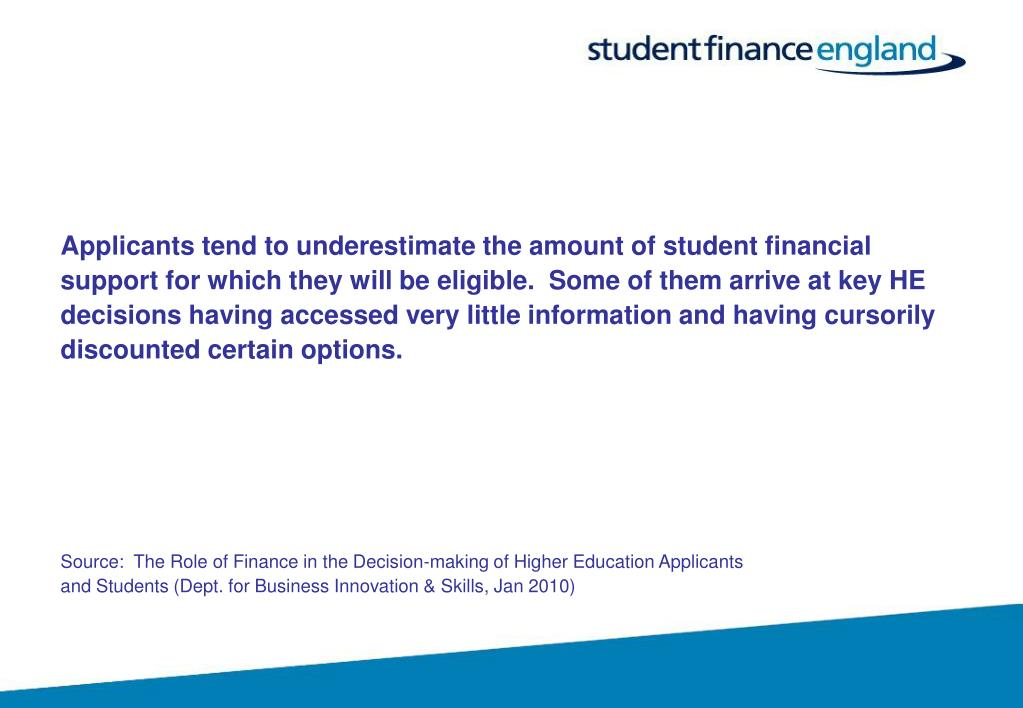 Applicants tend to underestimate the amount of student financial
