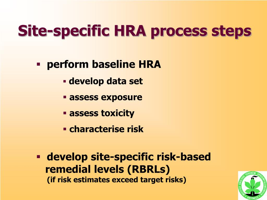 Site-specific HRA process s