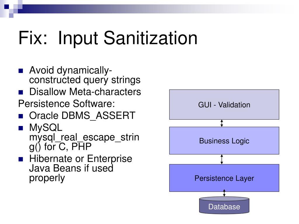 Fix:  Input Sanitization