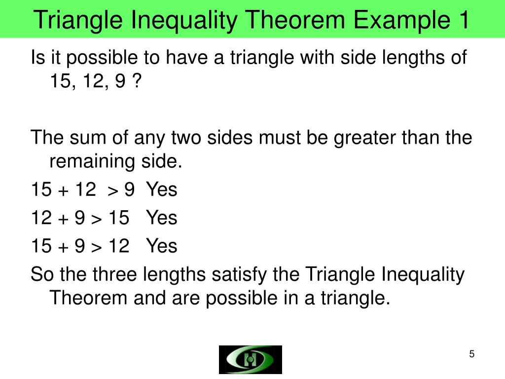 Triangle Inequality Theorem Example 1