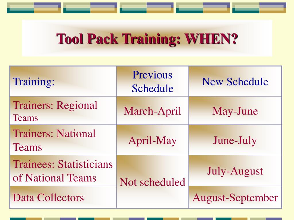 Tool Pack Training: WHEN?