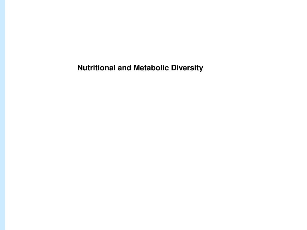 Nutritional and Metabolic Diversity