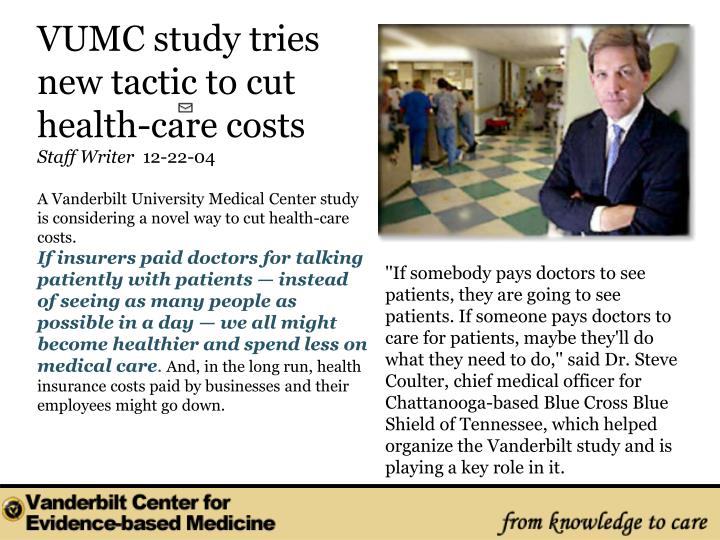 VUMC study tries new tactic to cut health-care costs