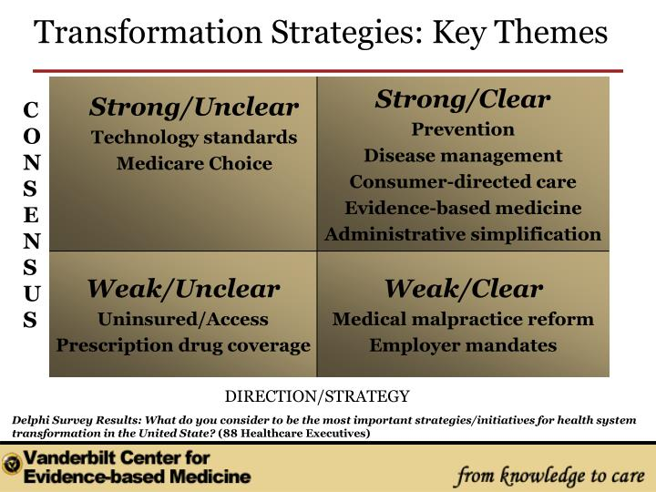 Delphi Survey Results: What do you consider to be the most important strategies/initiatives for health system transformation in the United State?