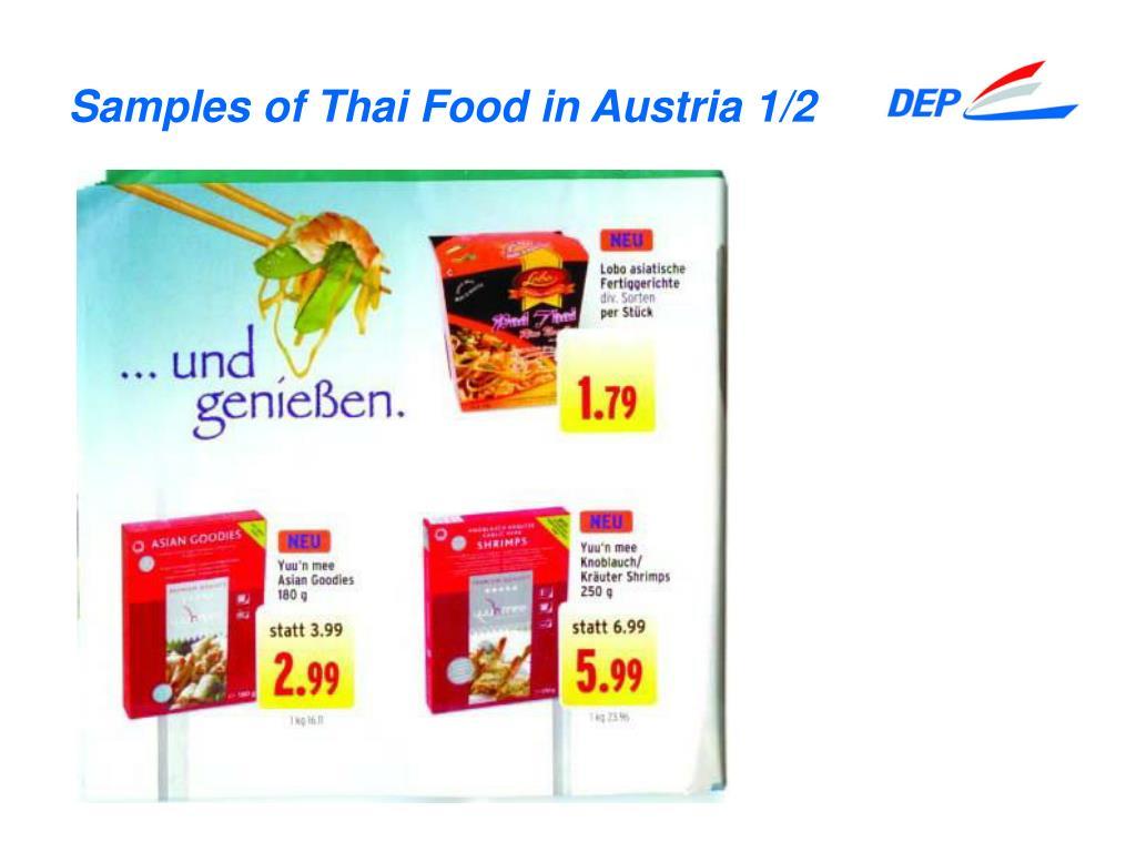 Samples of Thai Food in Austria 1/2