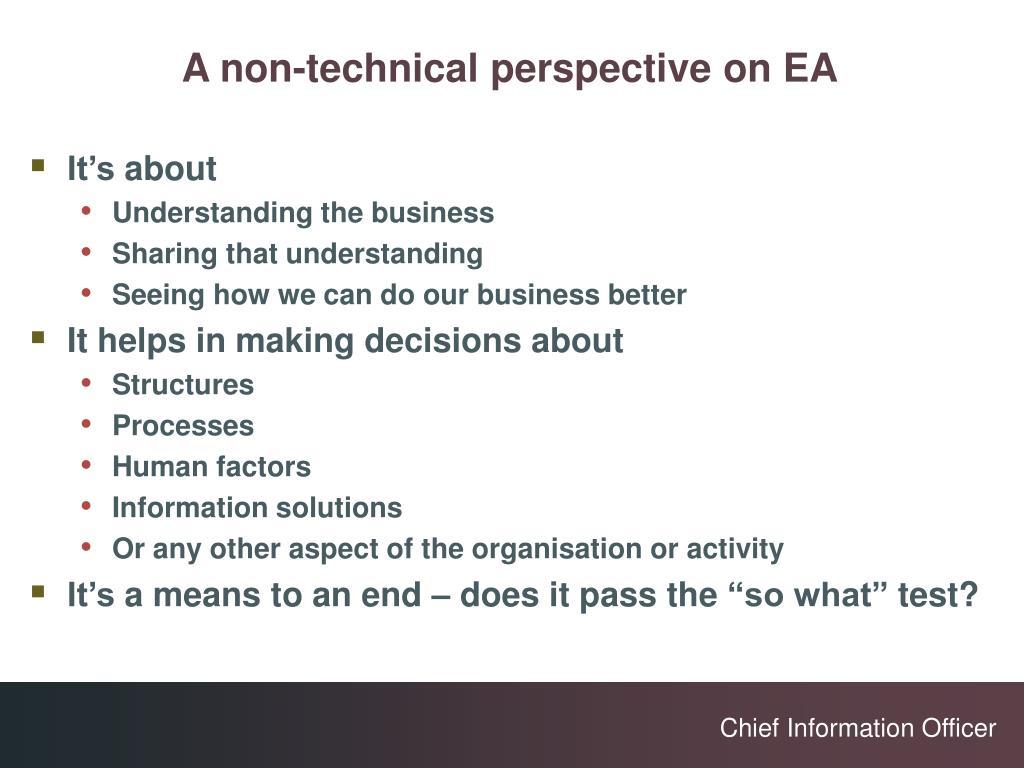 A non-technical perspective on EA