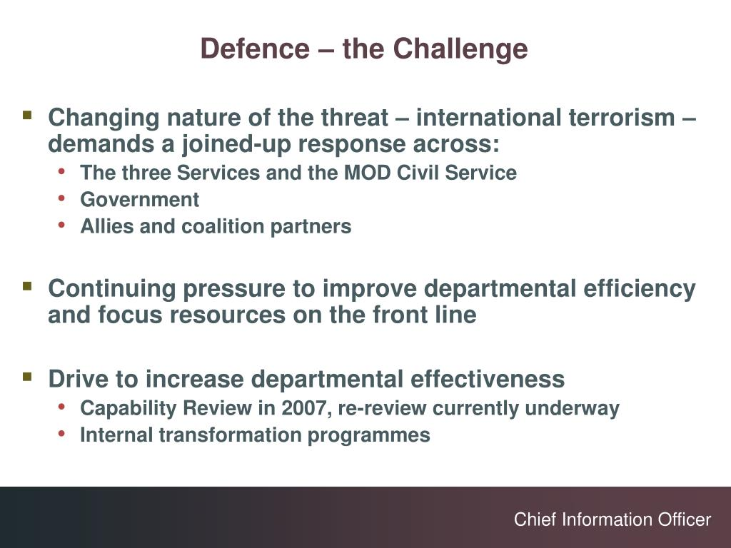 Defence – the Challenge