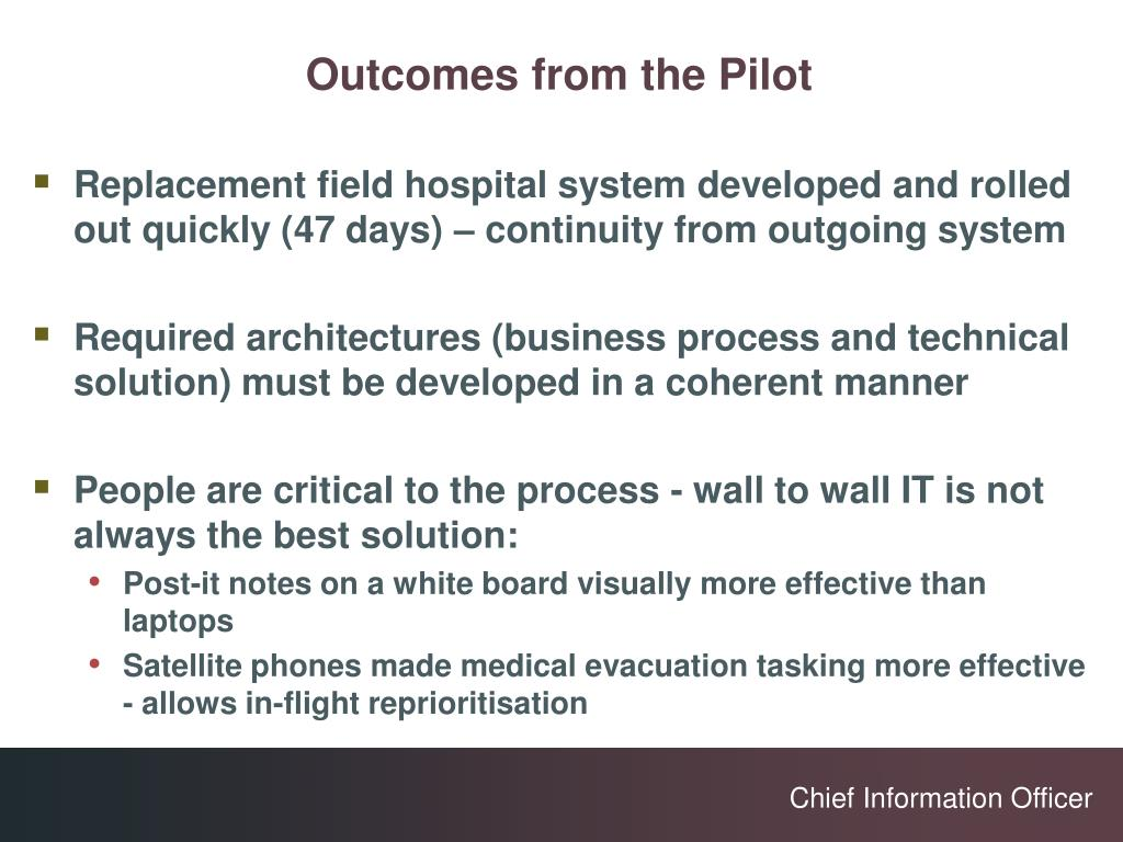Outcomes from the Pilot