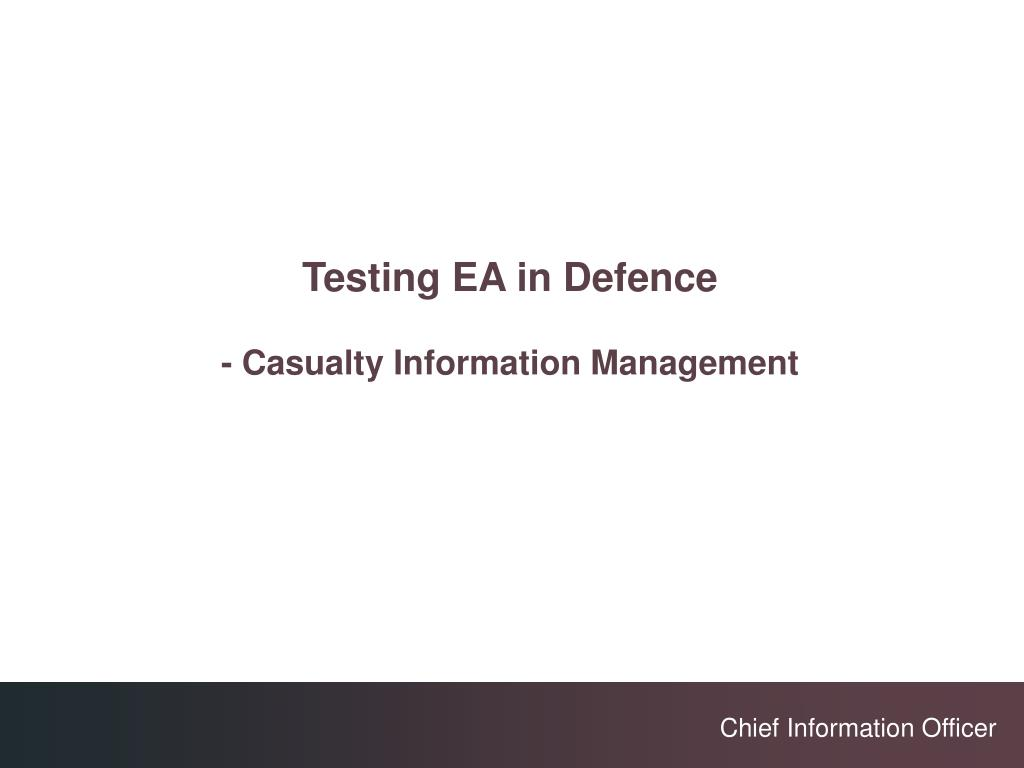 Testing EA in Defence