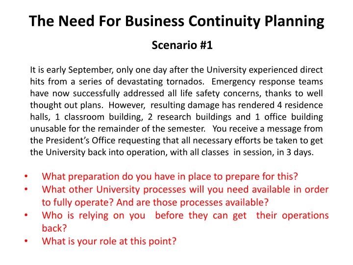 The need for business continuity planning l.jpg