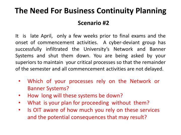 The need for business continuity planning3