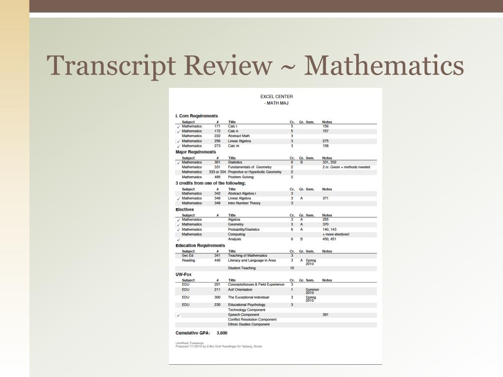 Transcript Review ~ Mathematics