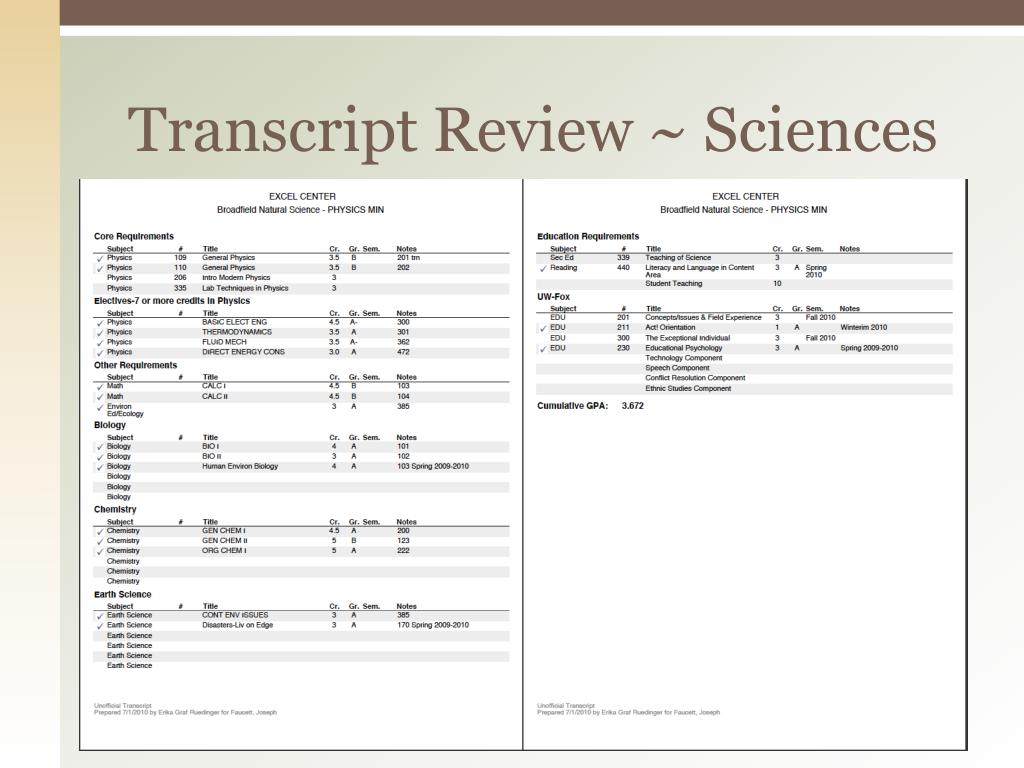 Transcript Review ~ Sciences