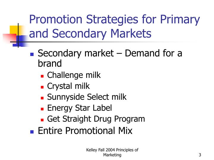 Promotion strategies for primary and secondary markets3