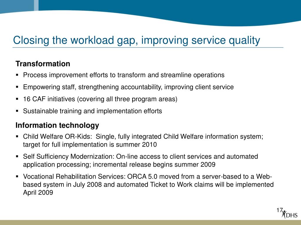Closing the workload gap, improving service quality