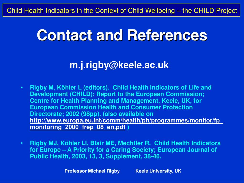 Contact and References