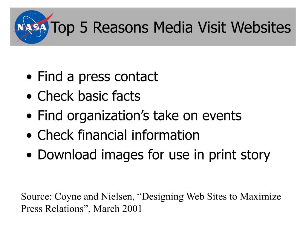 Top 5 Reasons Media Visit Websites