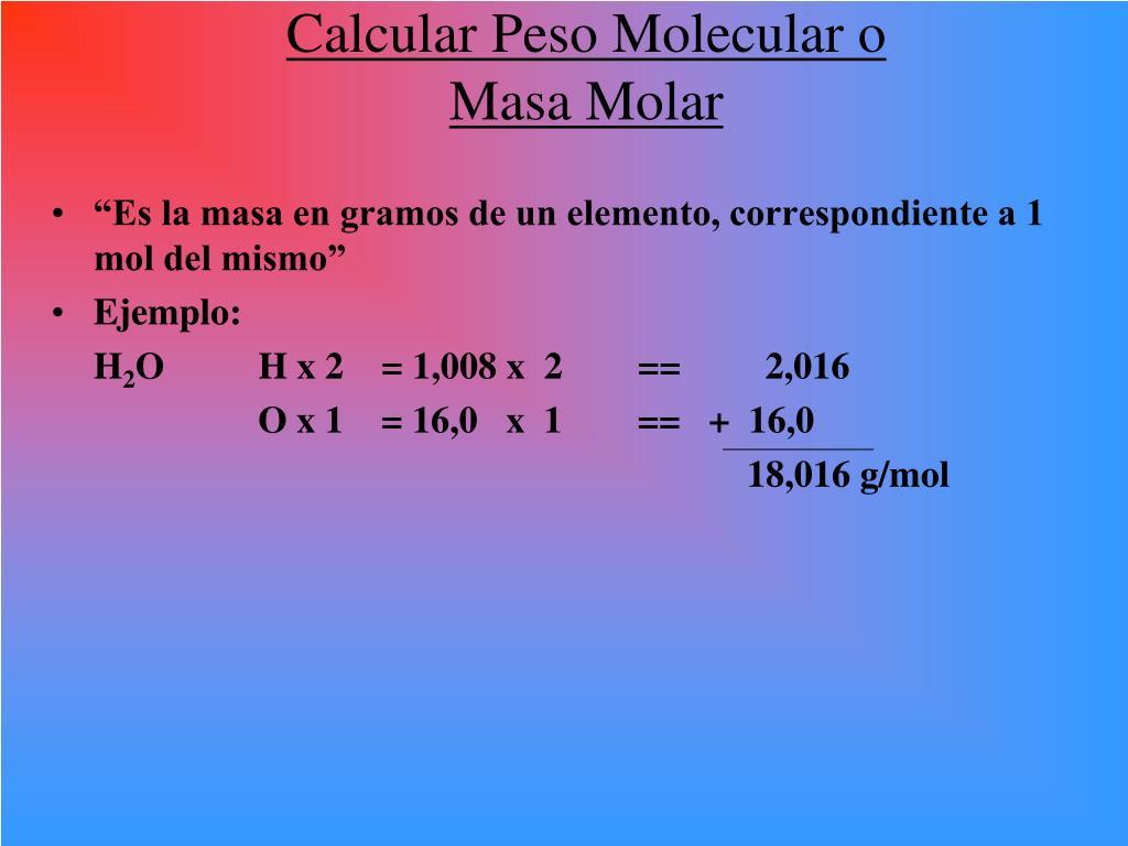 Calcular Peso Molecular o