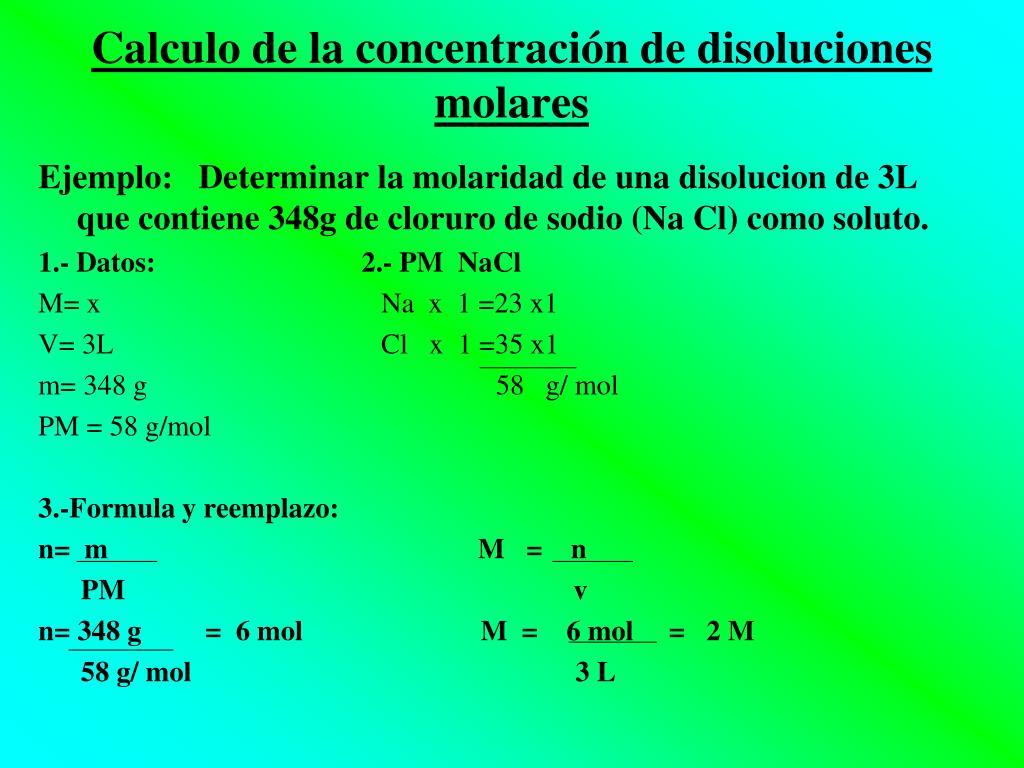 Calculo de la concentración de disoluciones molares