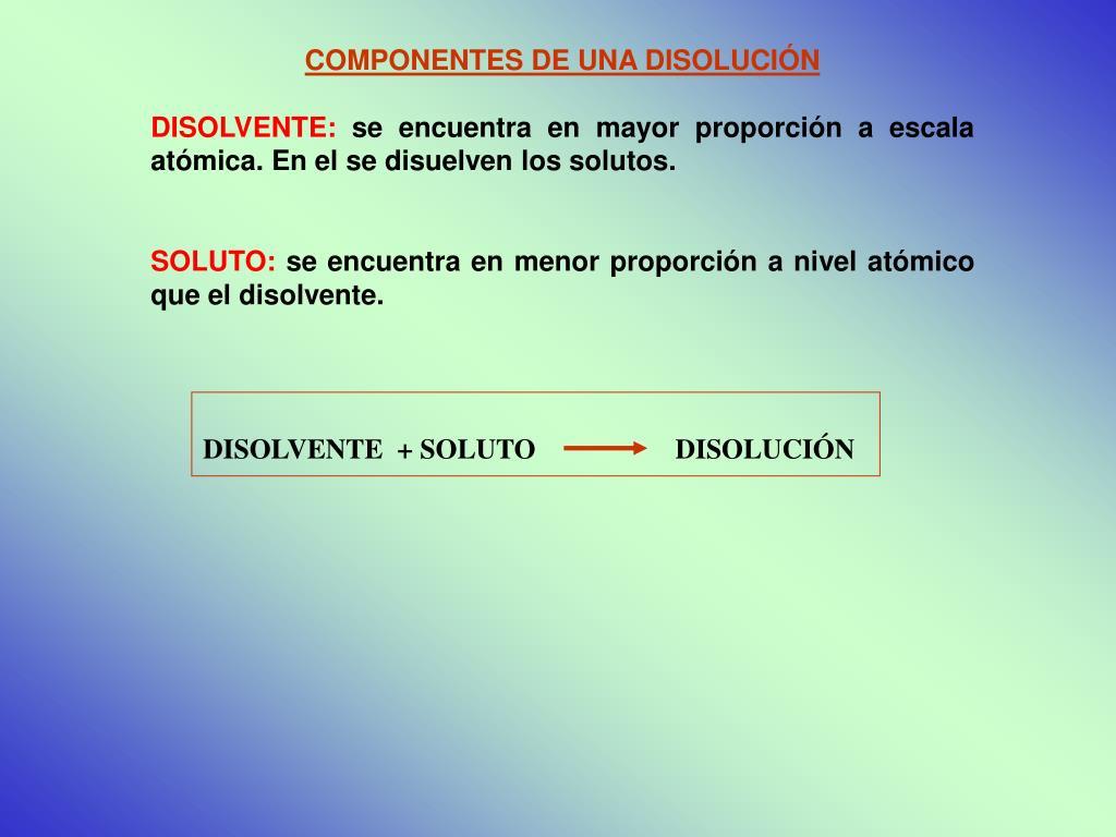DISOLVENTE  + SOLUTO                    DISOLUCIÓN