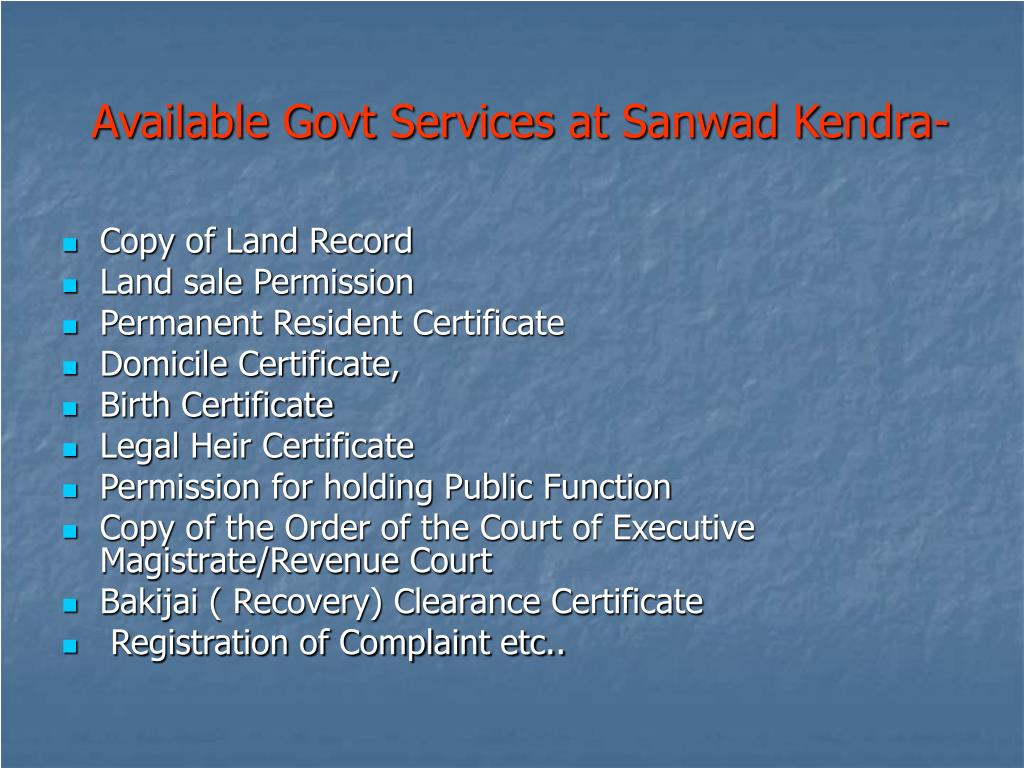Available Govt Services at Sanwad Kendra-