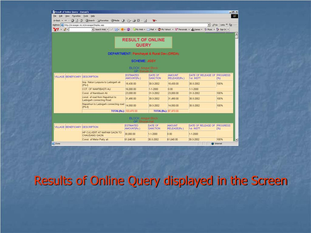 Results of Online Query displayed in the Screen
