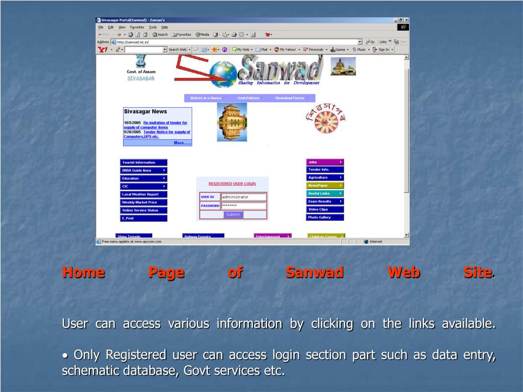 Home Page of Sanwad Web Site