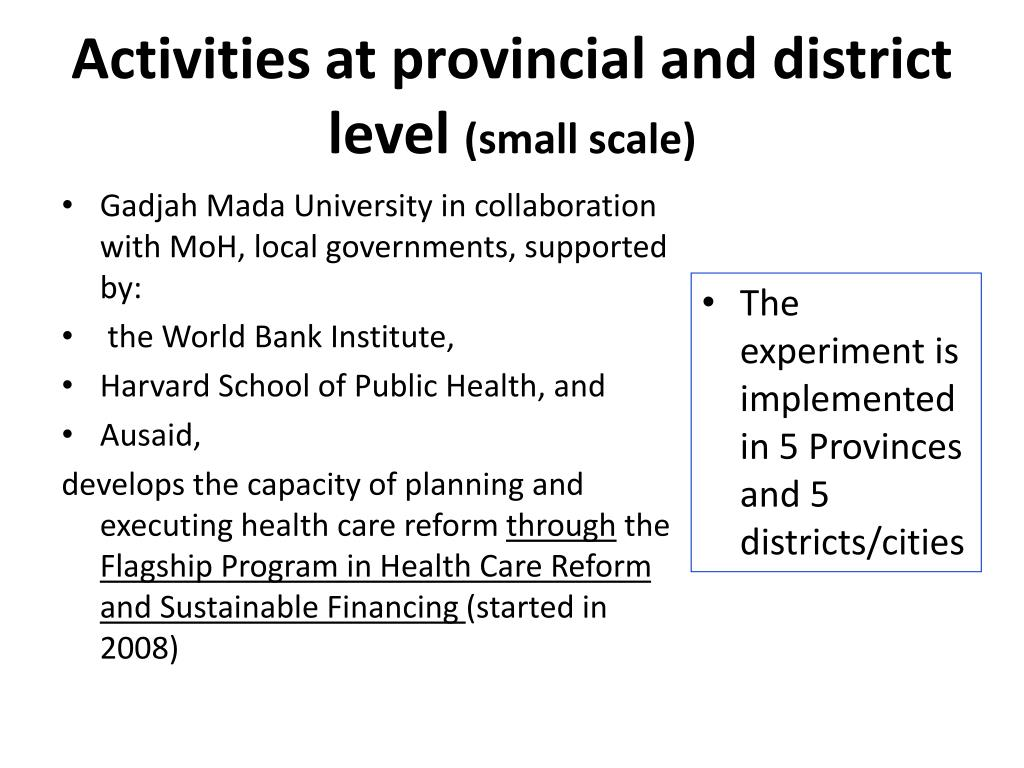 Activities at provincial and district level