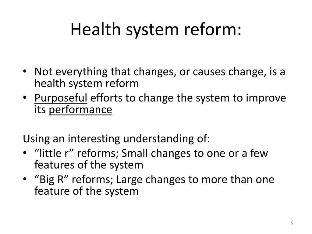 Health system reform: