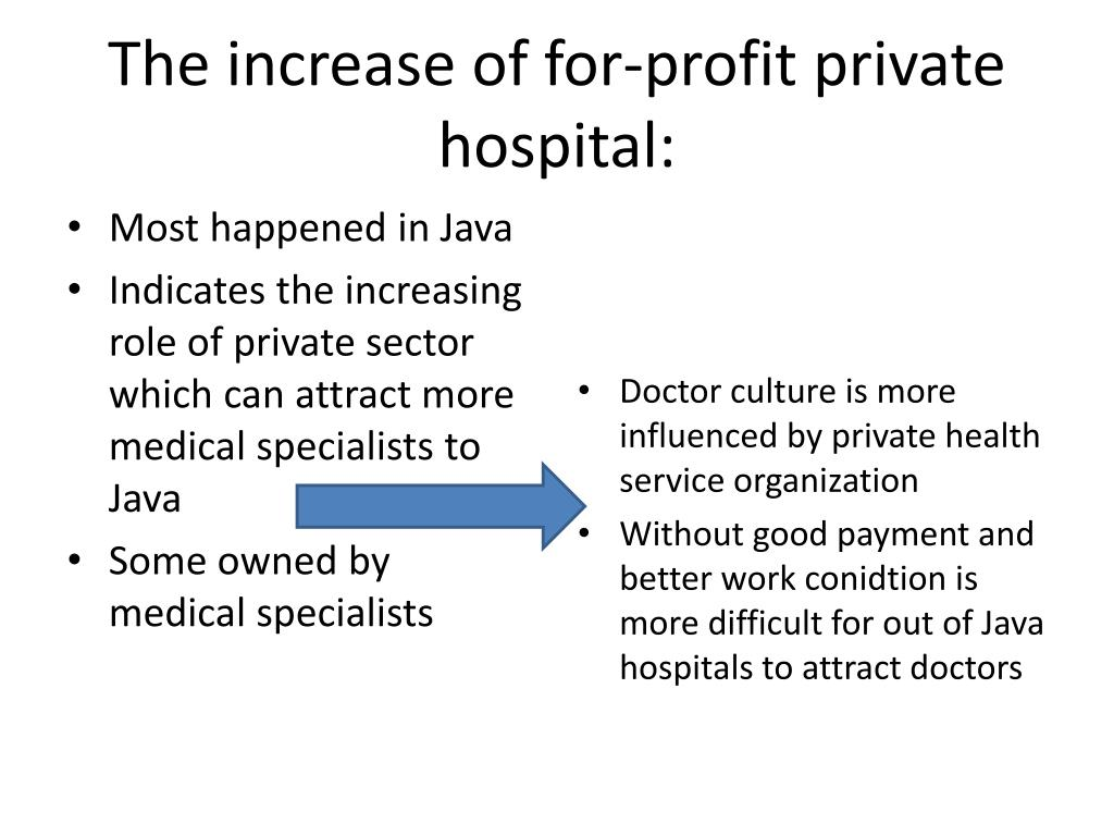 The increase of for-profit private hospital: