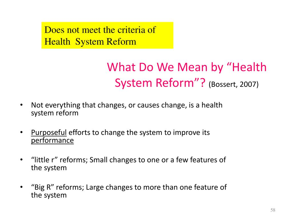 "What Do We Mean by ""Health System Reform""?"