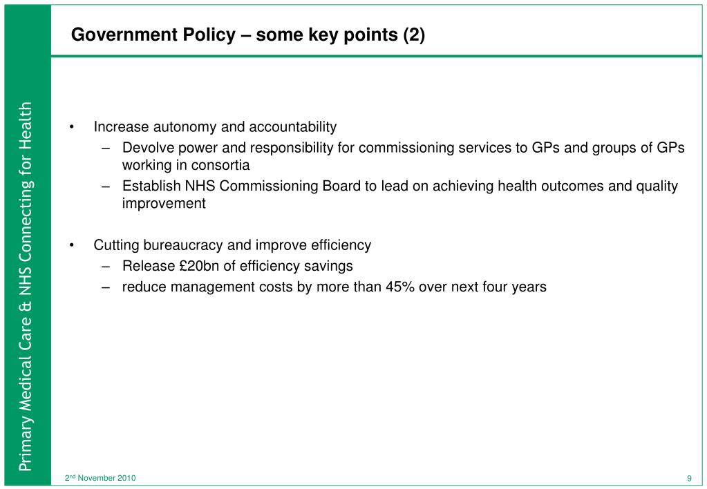 Government Policy – some key points (2)