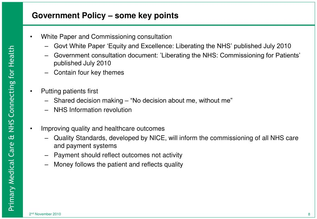 Government Policy – some key points