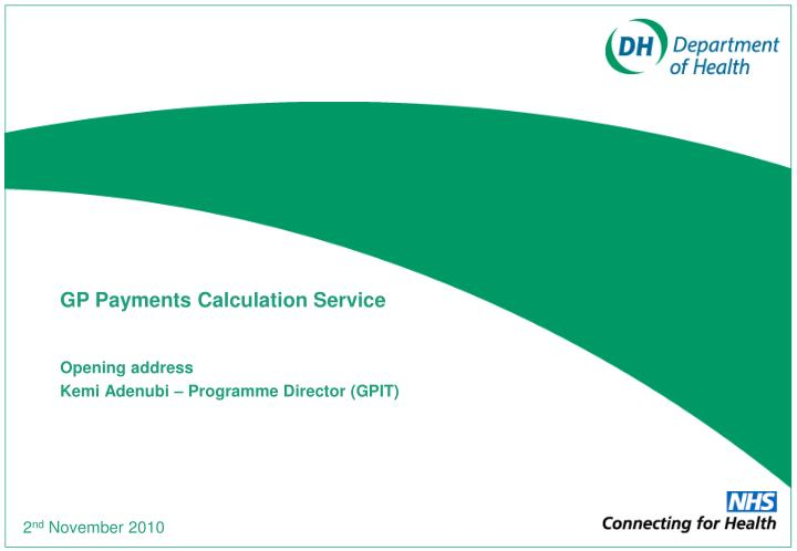 Gp payments calculation service