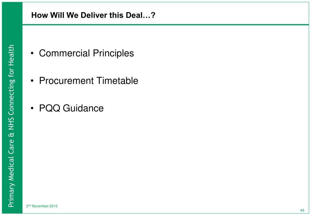 How Will We Deliver this Deal…?