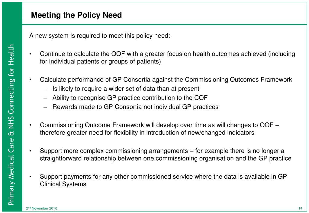 Meeting the Policy Need