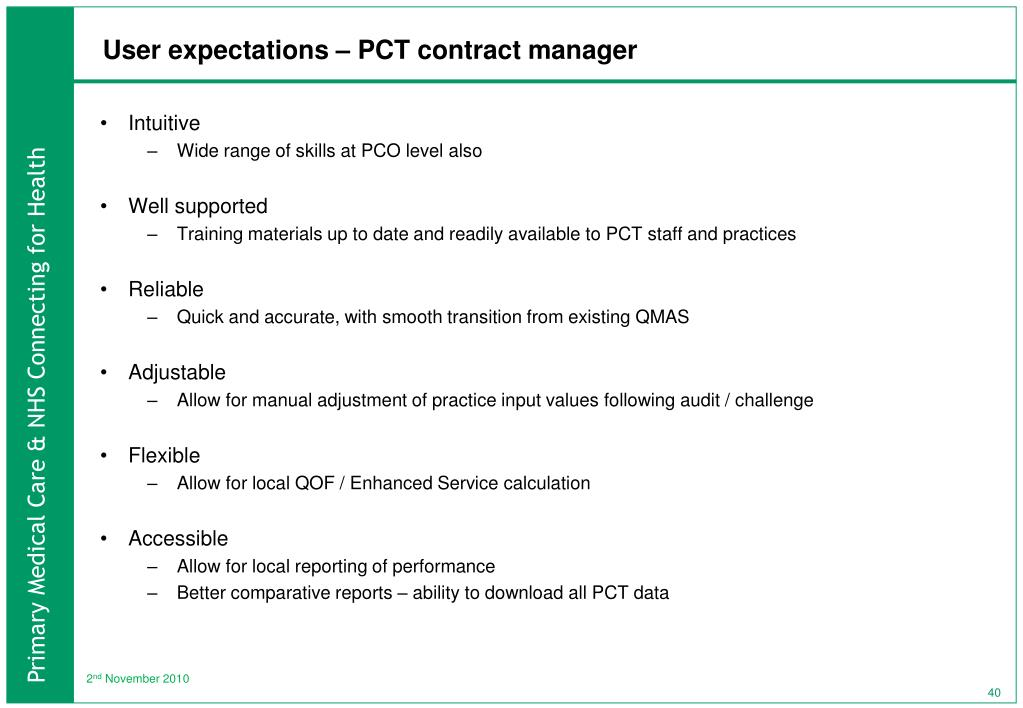 User expectations – PCT contract manager