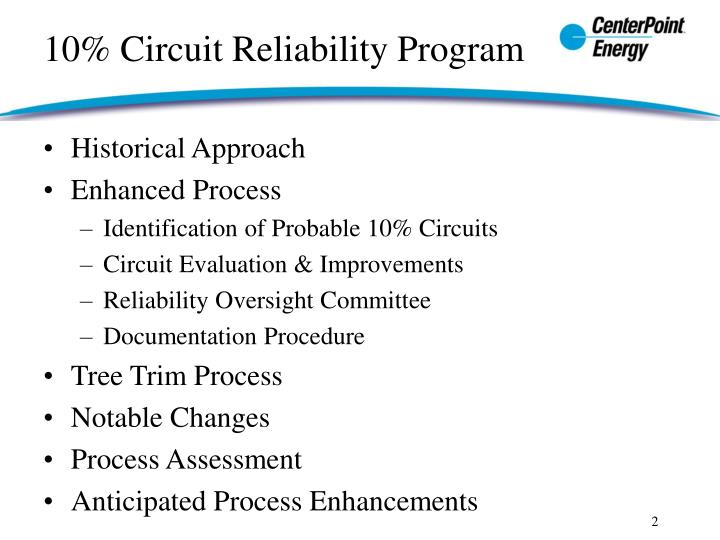 10 circuit reliability program