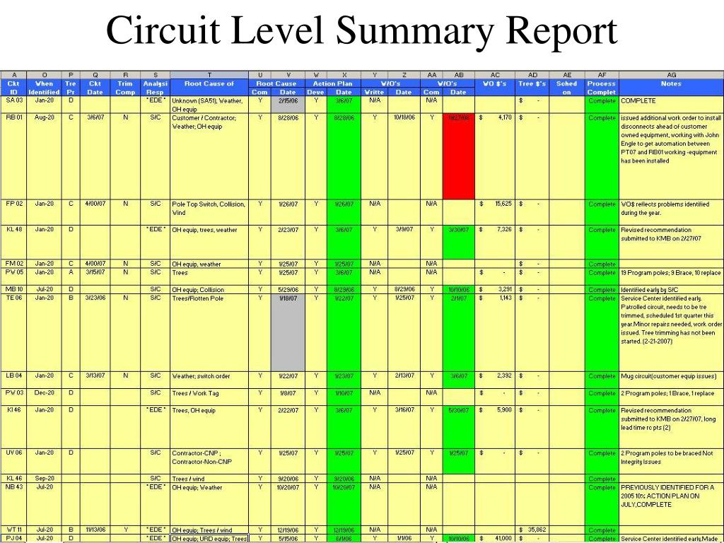 Circuit Level Summary Report