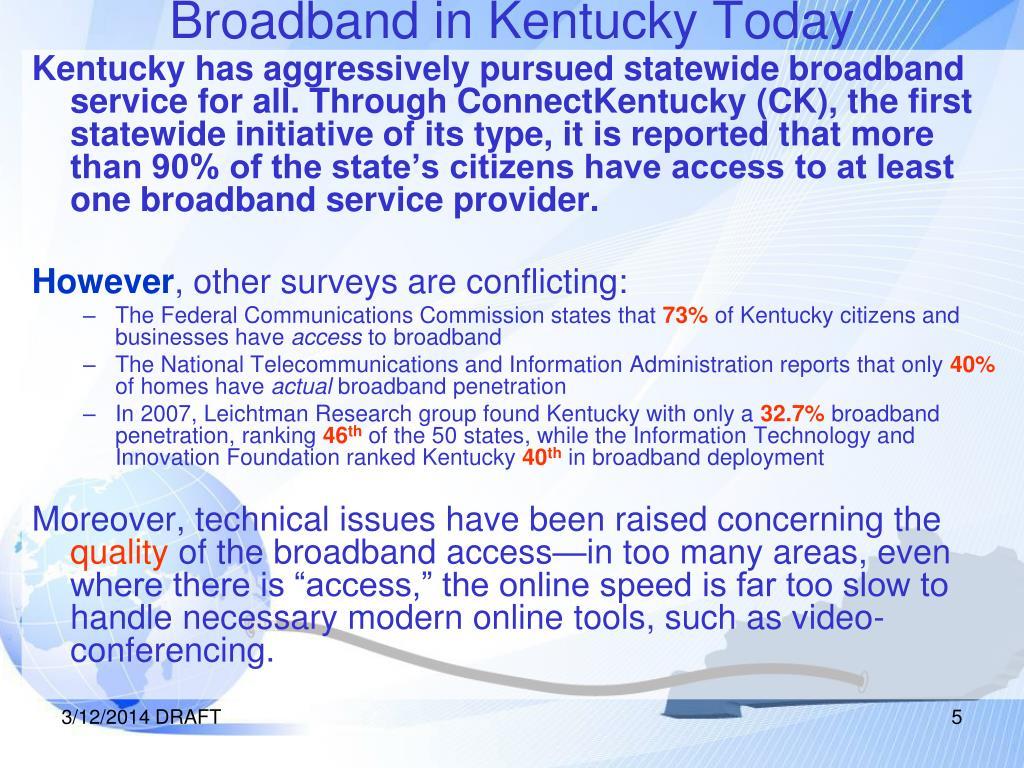 Broadband in Kentucky Today