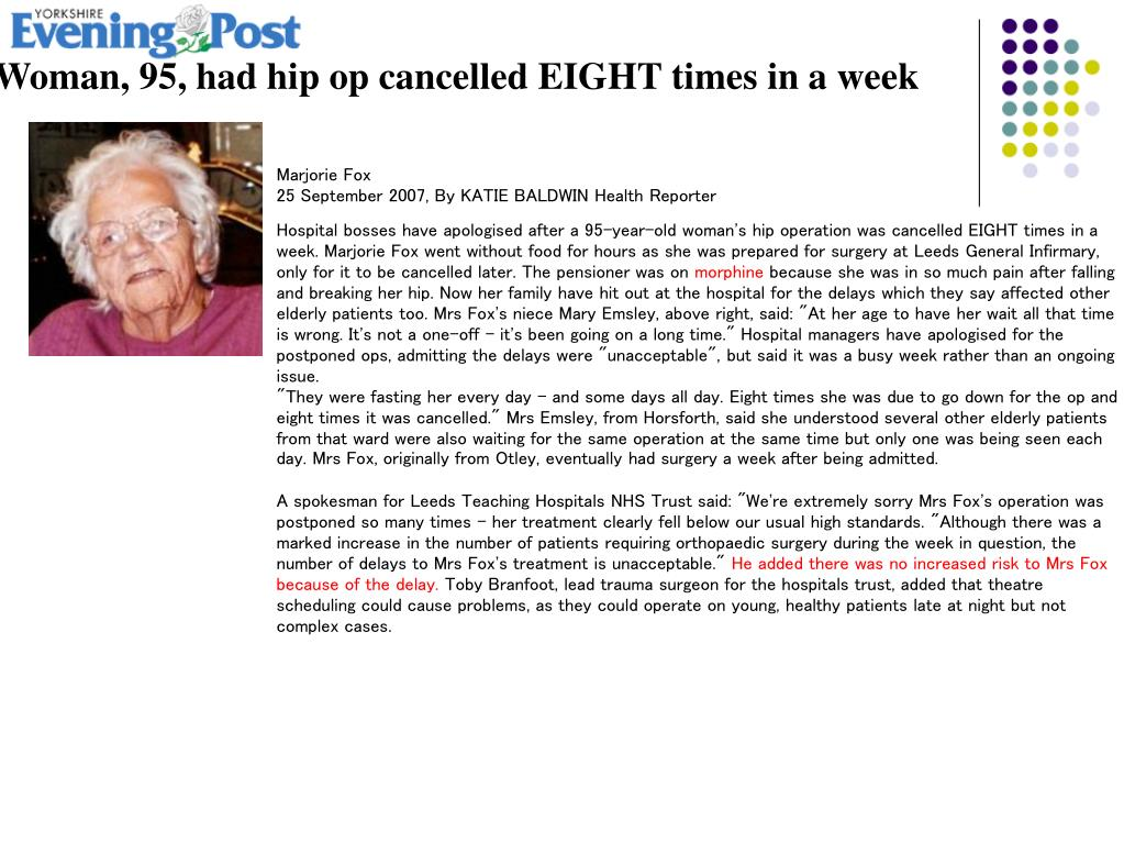 Woman, 95, had hip op cancelled EIGHT times in a week