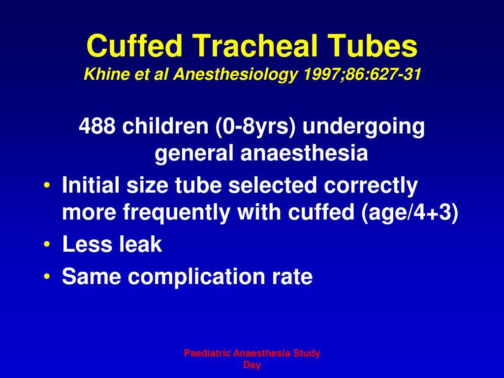 Cuffed Tracheal Tubes