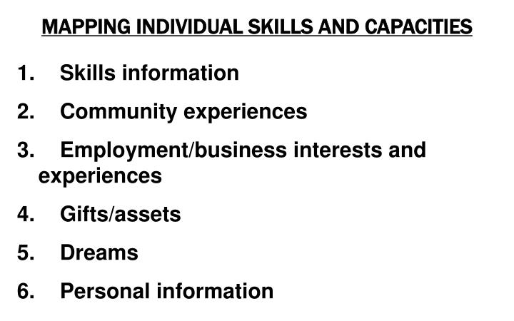 MAPPING INDIVIDUAL SKILLS AND CAPACITIES